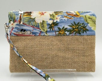 Tropical print hessian clutch