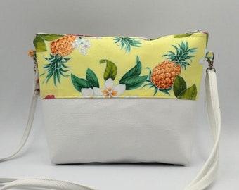 Pineapple, Hibiscus, Plumeria print handbag.