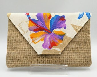 Tropical Rainbow Hibiscus Clutch