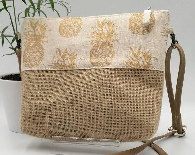 Tropical handbag, Pineapple bag, Pineapple purse, Crossbody bag.