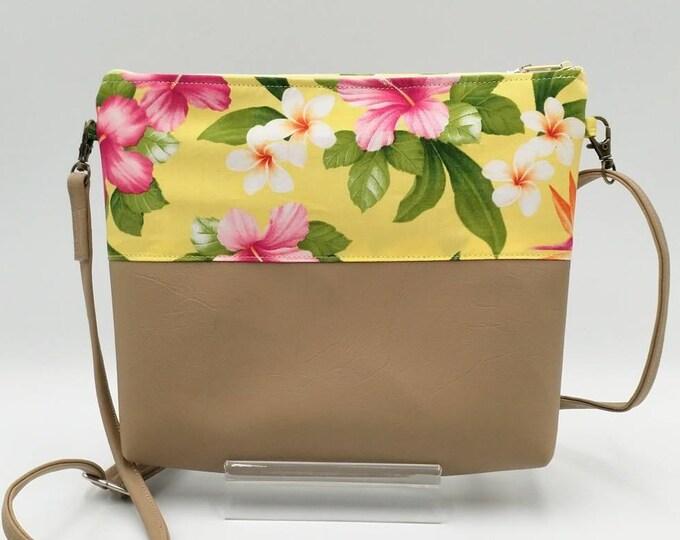 Tropical bag, Tropical handbag, crossbody bag, Hibiscus bag, Plumeria bag, Bird of paradise.