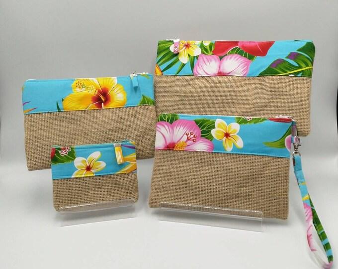 Tropical pouch, Tropical pencil case, Tropical bag, Tropical zip pouch, Tropical clutch/wristlets, Tropical purse