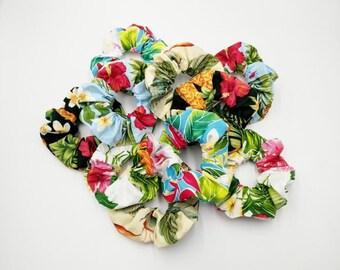 Tropical Hawaiian Fabric Scrunchies