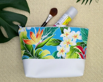 Tropical make up bags, toiletry bag set, small and large make up bags.