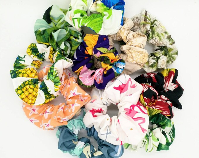 Tropical scrunchie, pineapple scrunchie, hawaiian scrunchie, hibiscus scrunchie, hair scrunchie, flamingo scrunchie, tropical hair tie.