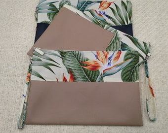 Large beige tropical Bird of Paradise and palm leaves clutch and coin purse.