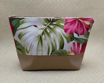 Tropical beige cosmetic bag