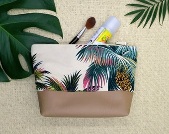 Palm tree make up bags, toiletry bag set, small and large make up bags.