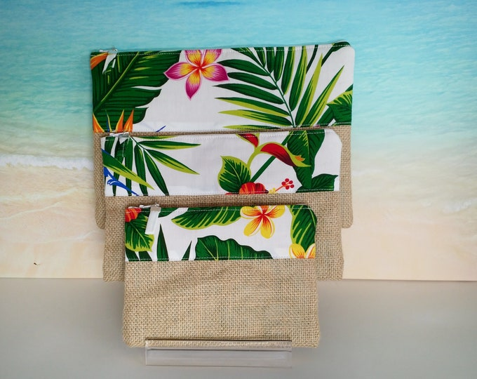 Tropical pouch, Tropical pencil case, Hawaiian pouch, Tropical bag, Hawaiian purse, Tropical zip pouch.