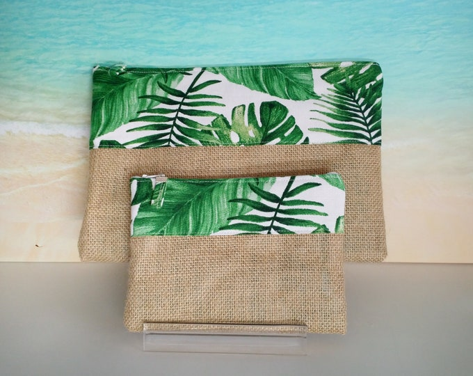 Tropical pouch, Tropical pencil case, Monstera pouch, Tropical bag, Palm leaf purse, Tropical zip pouch.