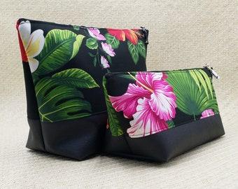 Tropical black cosmetic bag