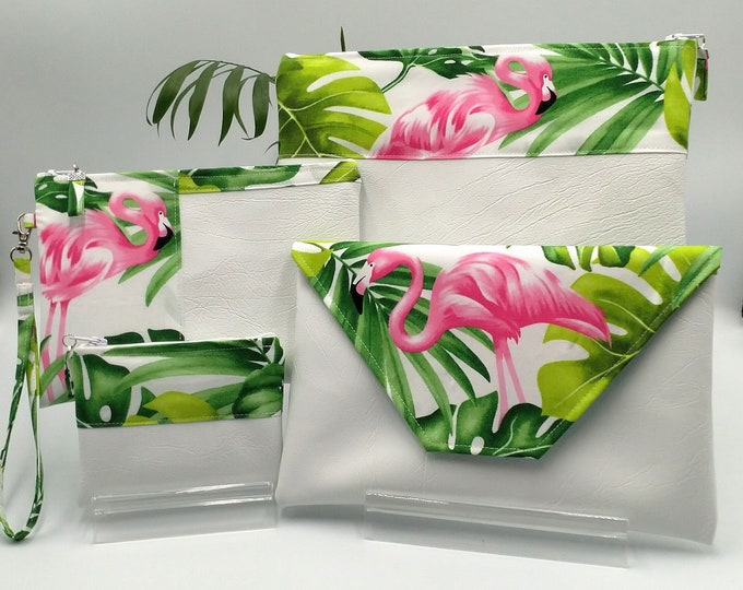 Tropical Pink Flamingo with Green Palm Leaves on white purses, pouches, clutch