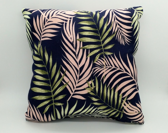 Small tropical cushion, tropical pillow, monstera cushion, palm leaf cushion, monstera pillow