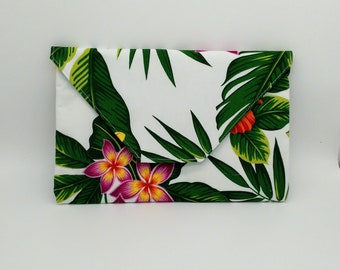 Tropical Tahitian, palm leaf, Frangipani, bird of paradise, hibiscus flower clutch, travel bag