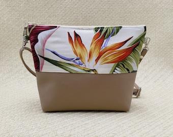 Palm and Bird of Paradise Handbag and coin purse.
