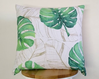 Monstera cushion cover, Tropical cushion cover, Palm leaf cushion cover.