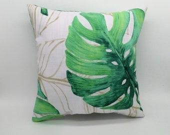 Small tropical cushion, tropical pillow, monstera cushion, palm leaf cushion, monstera pillow