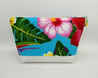 Tropical makeup bag, Tropical cosmetic bag, Tropical toiletry bag, Hawaiian makeup bag, Hawaiian bag, Travel bag, Tahitian makeup bag