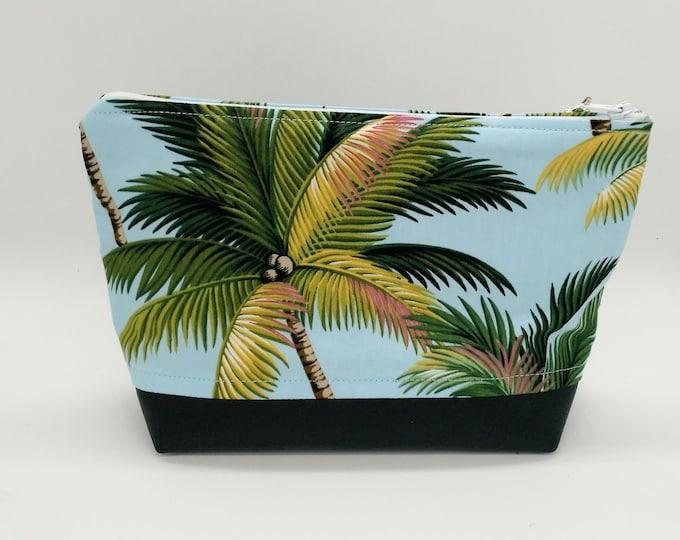 Tropical makeup bag, Tropical cosmetic bag, Makeup bag, Hawaiian bag, Tropical travel bag, Palm tree bag, Tahitian bag