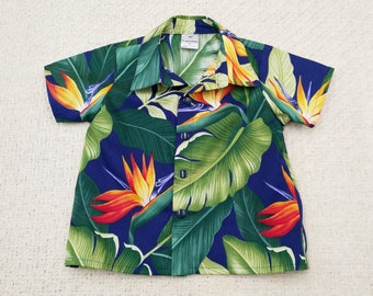 Navy Bird of Paradise Hawaiian print baby shirt