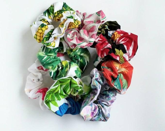 Wholesale scunchies, Bulk scrunchies, tropical scrunchie, hair scrunchie, flamingo scrunchie, tropical hair tie.
