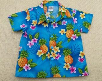 Tropical baby shirt, baby boys shirt, infant blue shirt, Baby Hawaiian fabric shirt