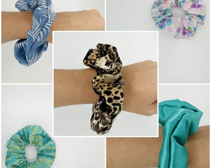 Scrunchie, Leopard scrunchie, Mermaid scrunchie, hair scrunchie, Satin scrunchie,  Denim scrunchie.