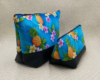 Tropical turquoise cosmetic bag