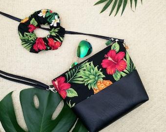 Tropical print handbag, Pineapple and Hibiscus bag.