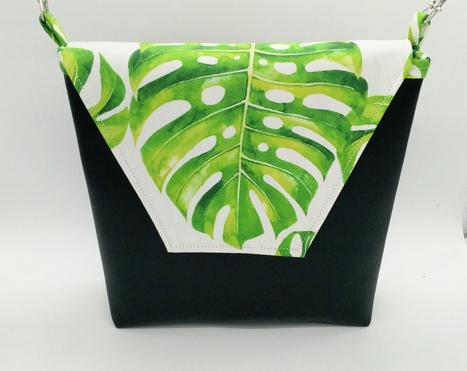 Tropical monstera print crossbody handbag, Hawaiian print handbag