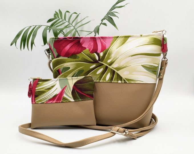 Featured listing image: Tropical Handbag and tropical coin purse.