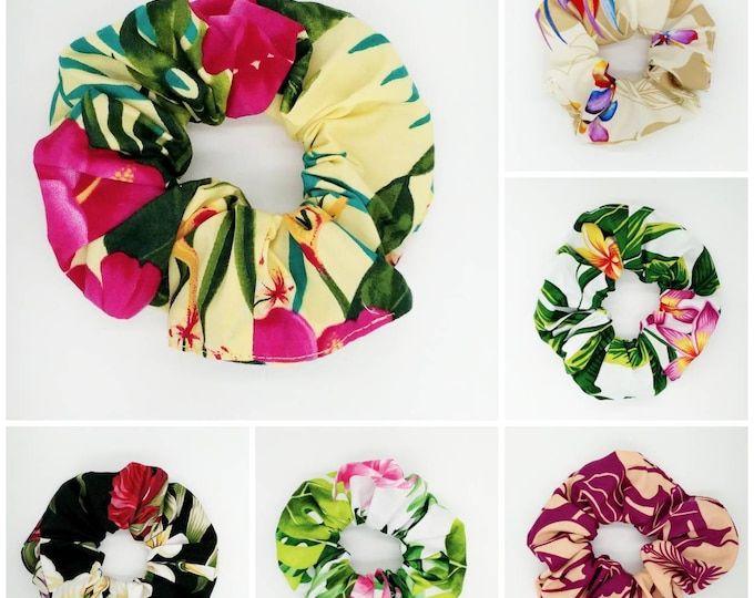 Tahitian Scrunchie, Tropical scrunchie, tropical hair tie, Hawaiian scrunchie, Tahiti scrunchies.
