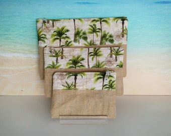 Tropical pouch, Tropical pencil case, Palm tree pouch, Tropical bag, Palm tree purse, Tropical zip pouch.