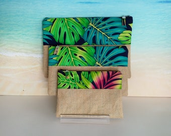 Tropical pouch, Tropical pencil case, Monstera pouch, Tropical bag, Monstera purse, Tropical zip pouch.