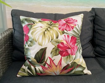Hawaiian cushion cover with Hibiscus, Monstera, Palms and Bird of Paradise.