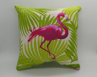 Small Flamingo tropical cushion, tropical pillow, Flamingo cushion, palm leaf cushion, flamingo pillow