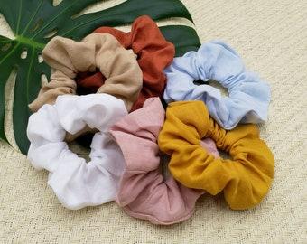 Linen scrunchies, Vintage look 100% linen scrunchie, Earthy linen scrunchies.