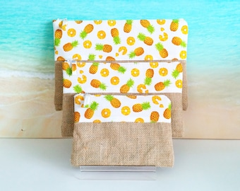 Tropical pouch, Tropical pencil case, Pineapple pouch, Tropical bag, Pineapple purse, Tropical zip pouch.