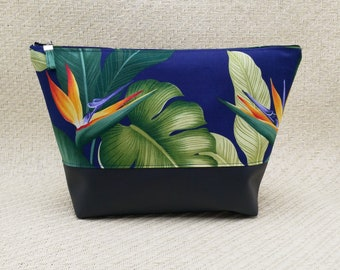 Tropical Navy cosmetic bag
