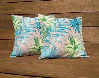 Aqua palm leaf cushion cover, Tropical outdoor cushion, Coastal pillow.