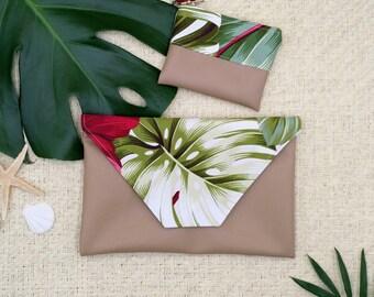 Tropical clutch, Monstera clutch, fold clutch, tropical coin purse.