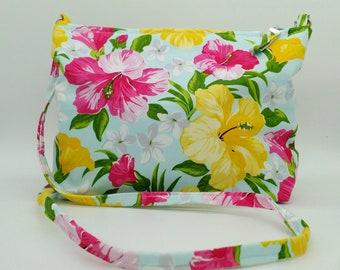 Tropical handbag, tropical bag, tropical cross body bag, hawaiian handbag, hibiscus handbag