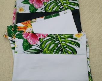Large white Hawaiian clutch and coin purse with Monstera, Palms, Hibiscus, Bird of Paradise.