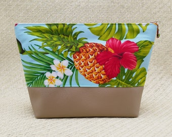 Tropical Pineapple and Hibiscus cosmetic bag