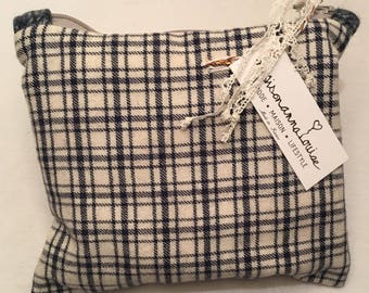 Vintage wool fabric pouch