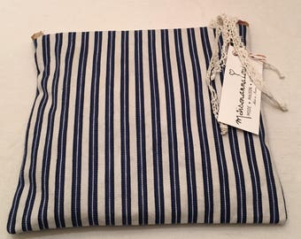 Vintage French ticking canvas pouch