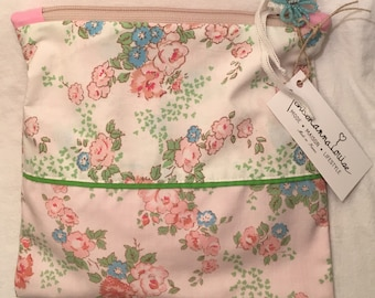 Vintage white floral fabric pouch