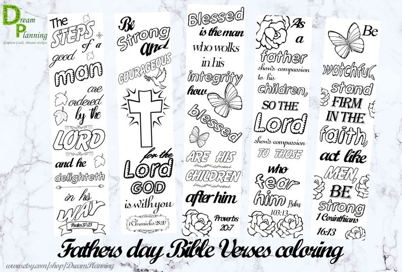 Christian Fathers Day Coloring Pages Coloring Bible Bookmarks Etsy