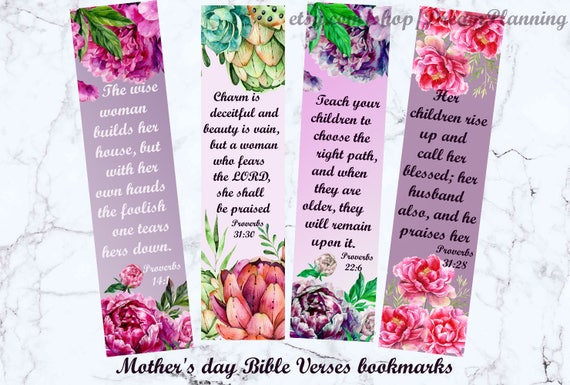 mother 39 s day bible verses bookmarks christian mother day etsy. Black Bedroom Furniture Sets. Home Design Ideas