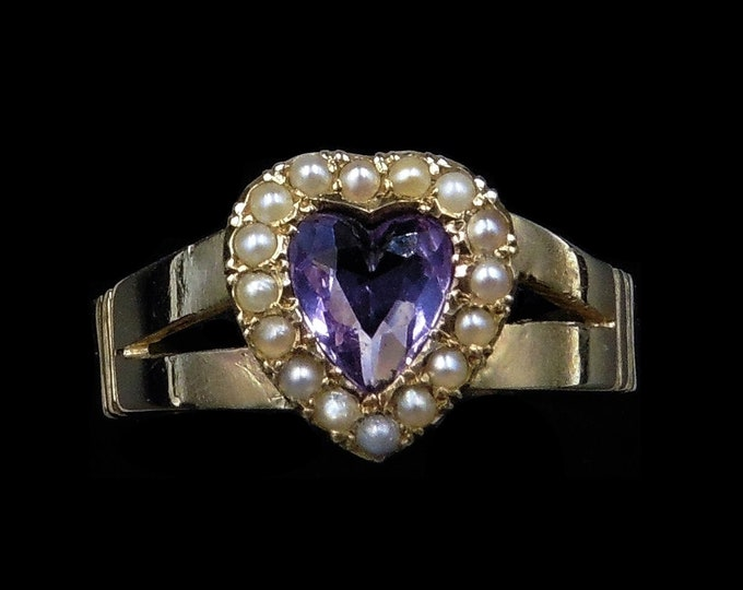 Antique Victorian Amethyst Heart and Pearl Halo Cluster 9ct 9k Yellow Gold Ring | Circa.1890